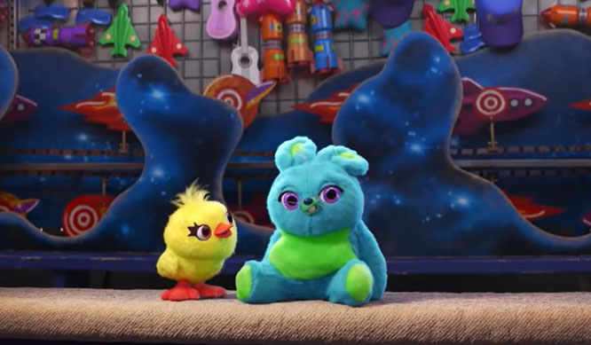 """Duck and Bunny in a teaser trailer for """"Toy Story 4"""" (2019)"""