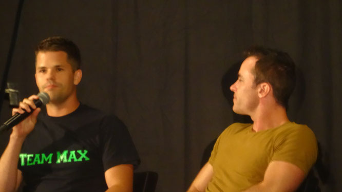 Actor Ryan Kelley and Max Carver at Wolfcon