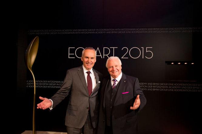 Dr. Friedrich Eichiner, Mitglied des Vorstands der BMW AG, mit Eckart Witzigmann. Verleihung des ECKART 2015