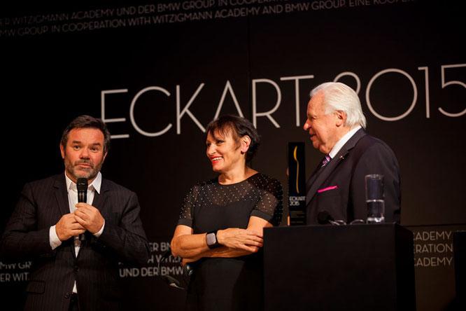 Michel Troisgros mit Gattin Marie-Pierre, ECKART 2015 für Große Kochkunst, und Eckart Witzigmann ©BMW Group