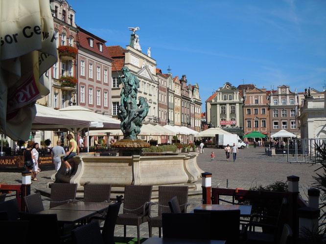 Marktplatz in Posen mit Prosperina  Brunnen