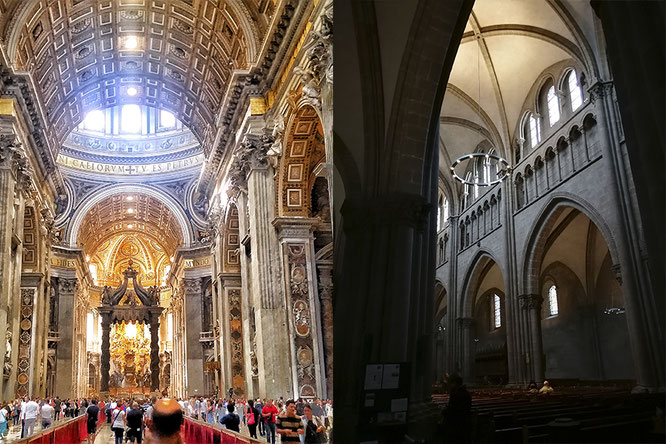 (с) Дамир Байманов. Слева - Собор Святого Петра в Ватикане, справа - Собор Святого Петра в Женеве.