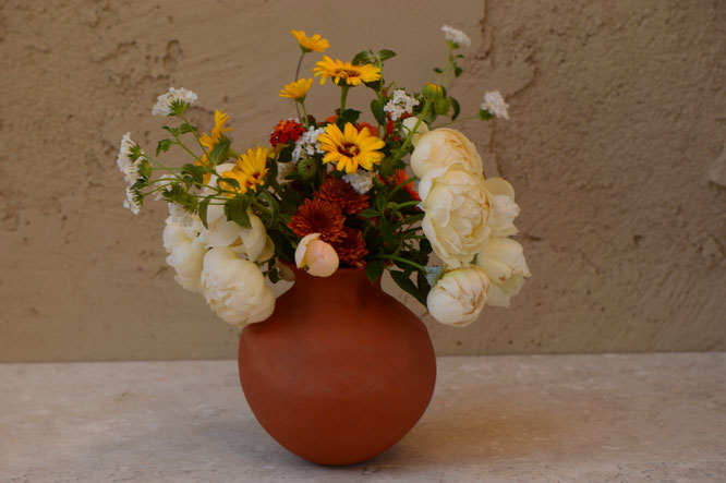 in a vase on monday, iavom, monday vase, small sunny garden, desert garden, amy myers, photography, garden blog, handbuilt, coiled, pottery, earthenware, ceramics