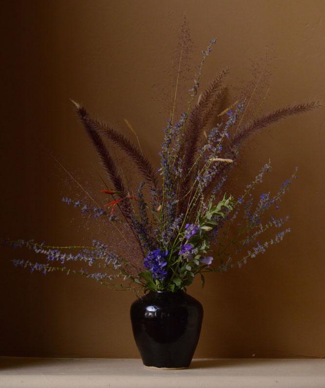 small sunny garden, desert garden, in a vase, monday, amy myers, monday vase, ceramics, stoneware, tenmoku