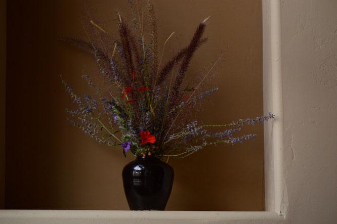 small sunny garden, desert garden, in a vase, monday, amy myers, monday vase, stoneware, ceramics, tenmoku