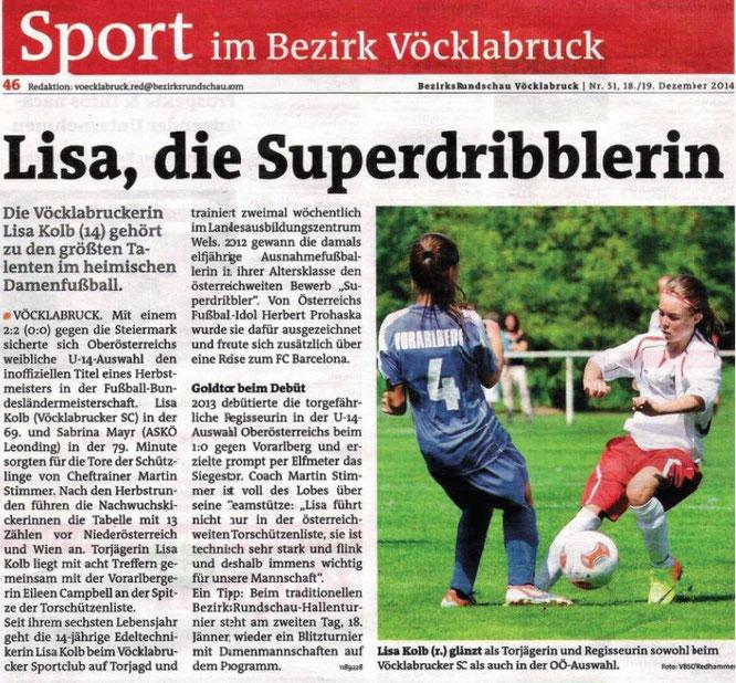 "Die ""Bezirksrundschau Vöcklabruck"" berichtet im Dezember 2014 über Lisa Kolb"