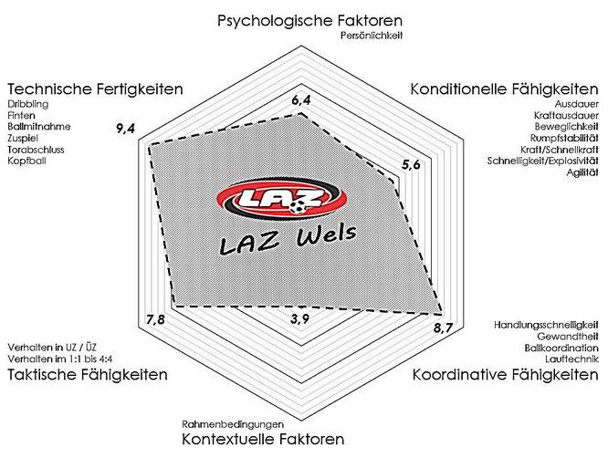 """Analyse der Leistungsfähigkeit eines Spielers mithilfe des """"Spinnennetzdiagramms"""" und der leistungesbestimmenden Faktoren (Bewertung 1 - 10)."""