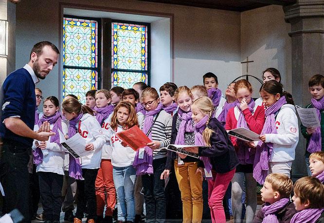 La Maîtrise Saint-Étienne en répétition, avant un concert en l'église de Saverne
