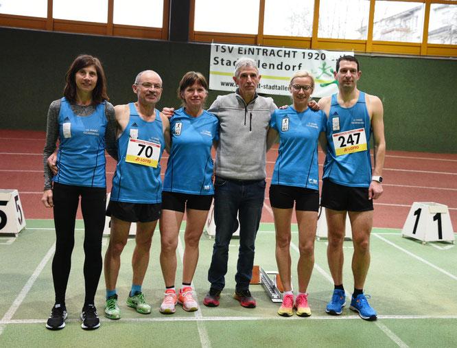 Ein Teil der erfolgreichen Diabü Athleten: von links: Yvonne Heck, Walter Fiedler, Annika Karfs-Fiedler, Trainer Peter Thum, Carola Müller, Stefan Thum