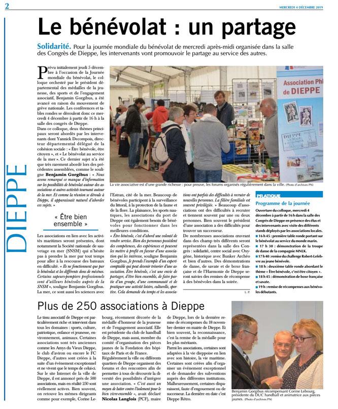 Paris-Normadie 4 décembre 2019 journée mondiale du bénévolat