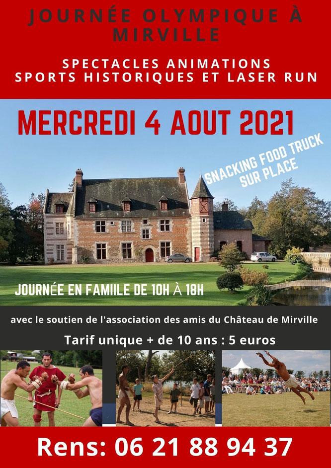 Journée olympique à MIRVILLE au Château de Pierre de Coubertin, lle 4 août 2021. Journée en famille.