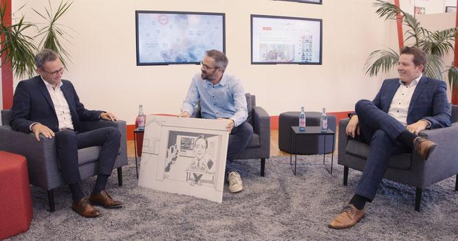URANO-Gründer und CEO Andreas Krafft (links) im Gespräch mit COO Sebastian Schmalenbach (rechts) und Marketing-Leiter Stephan Brust.