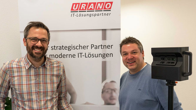 Stephan Brust (URANO, Head of Marketing) und Philipp Köhler (3Dscan360) bei Virtual Recruiting-Dreh