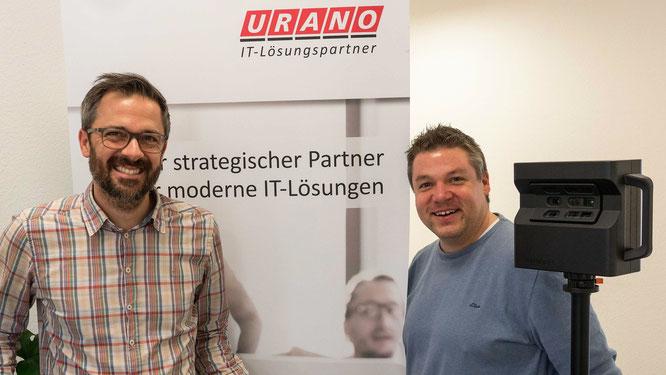 Stephan Brust (URANO, Head of Marketing) und Philipp Köhler (3Dscan360) bei Virtual Recruiting-Dreh