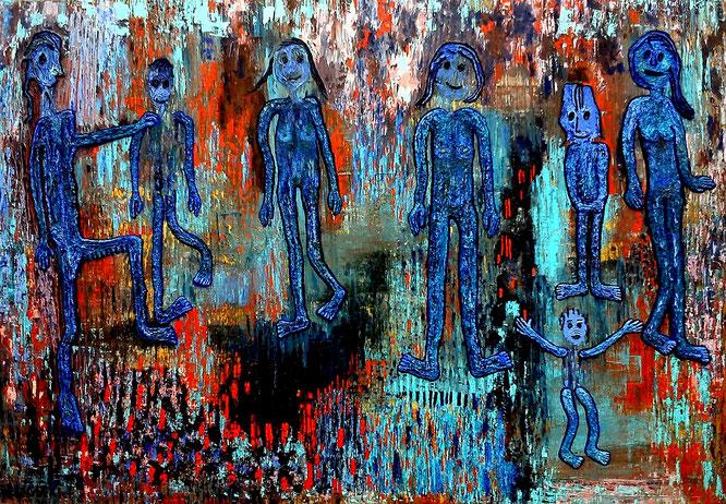 Auf der Straße: Öl auf Holz, 75 x 104 cm, 2016+2019