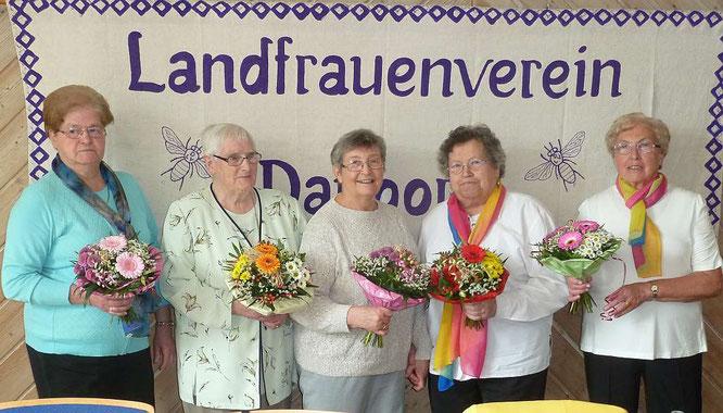 Die Gründungsmitglieder: Gudrun Jäger, Inge Kilian, Hildgard Kilian, Elisabeth Büttner und Heide Wagner