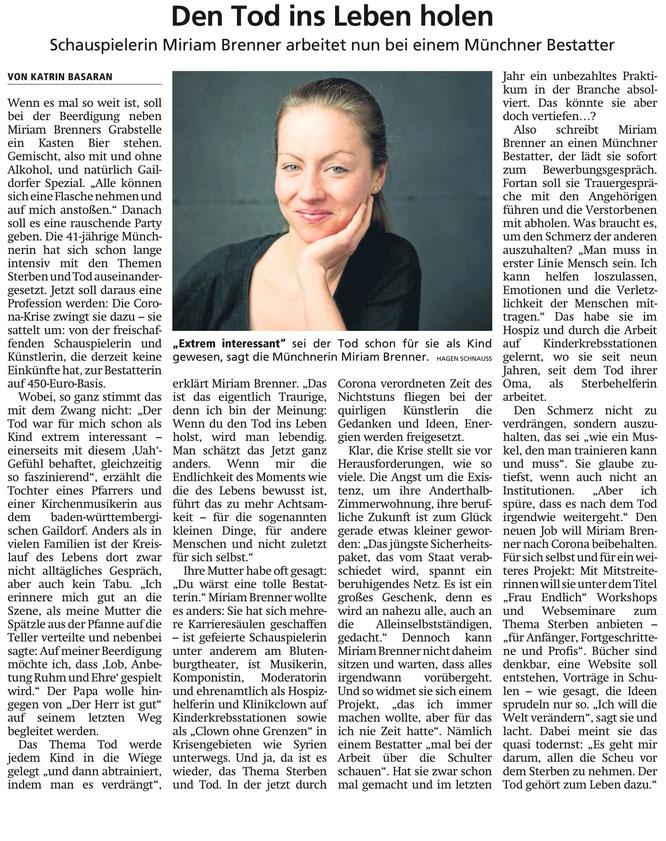 """Danke an den """"Münchner Merkur"""", 03. April 2020"""