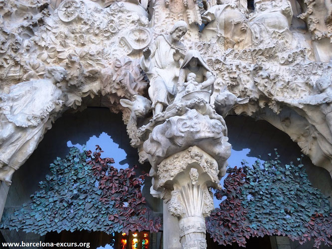 Саграда Фамилия. Фасад Рождества, фрагмент