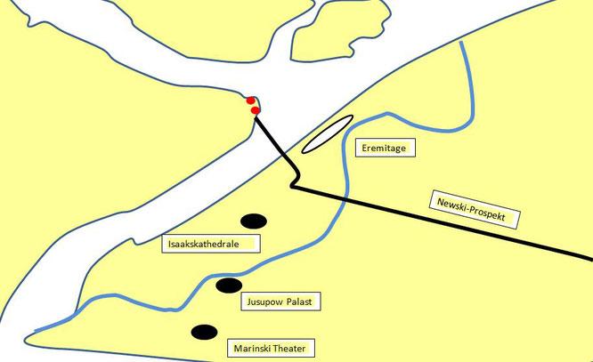 Karte vom Zentrum mit Jussupow Palast
