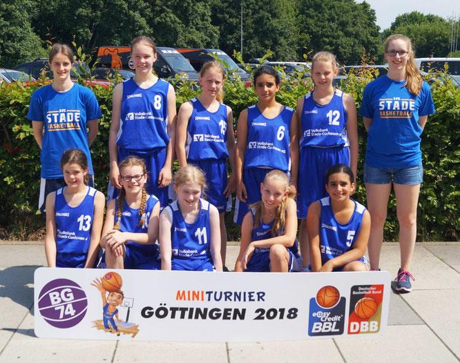 Sensationeller Erfolg unserer U12-Mädchen: Sie sicherten sich Platz zwei in der Leistungsklasse II beim Internationalen Mini-Turnier in Göttingen. (Foto: BG 74 Göttingen)
