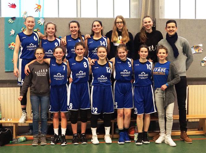 Makellose Bilanz: Sieben Spiele, sieben Siege. Die U16-Mädchen sind auf Titelkurs in der Bezirksliga. (Foto: Maibohm)