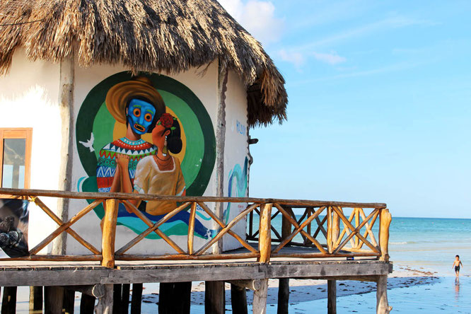 Mural on the beach in Holbox