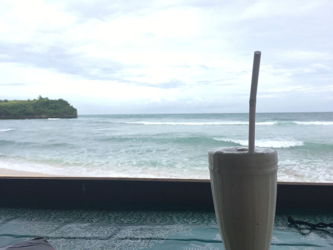 Drinking Milkshake at Bilangan Beach Bali