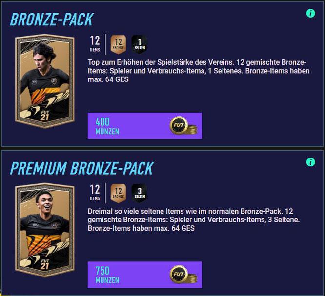 Die Ultimate Team Shop-Seite der Bronze Packs in FIFA 21, dargestellt in der FUT Web App. (c) EA Sports