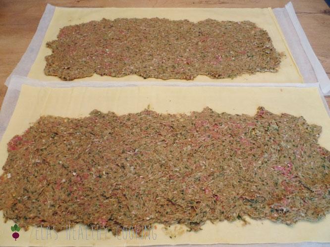 Maultaschenteig mit Füllung, Zubereitung