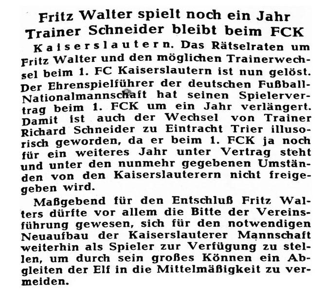 RHEINPFALZ: Ausgabe vom 27.05.1958 (Nr. 120); Archiv Eric Lindon