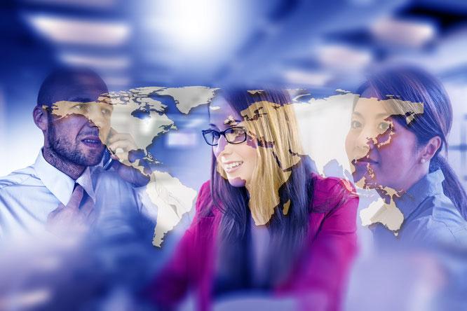 Teamwork Menschen Weltkarte