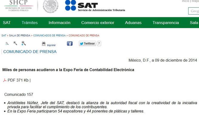 CLIC PARA ENTRAR A PAGINA DEL SAT Y VER COMUNICADO.