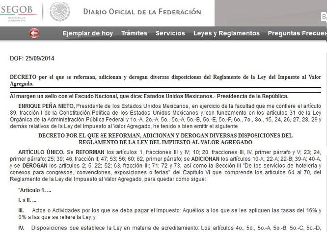 CLIC  EN IMAGEN PARA ENTRAR AL D. O. DEL 25 DE SEPTIEMBRE DEL 2014  Y VER PUBLICACIÓN COMPLETA.