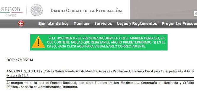 CLIC EN IMAGEN PARA IR AL DIARIO OFICIAL DEL 17 DE OCTUBRE DEL 2014.