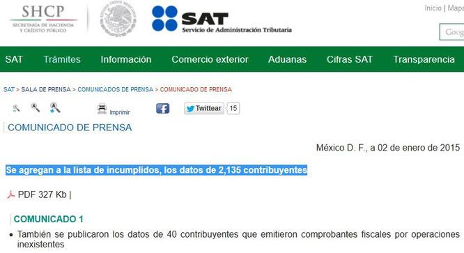 Clic para entrar a la página del SAT y ver comunicado.