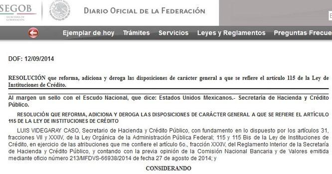 CLIC  EN IMAGEN PARA ENTRAR AL DIARIO OFICIAL DEL 12 DE SEPTIEMBRE DEL 2014.