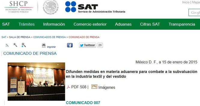 Clic en imagen para ver el comunicado en página del SAT.