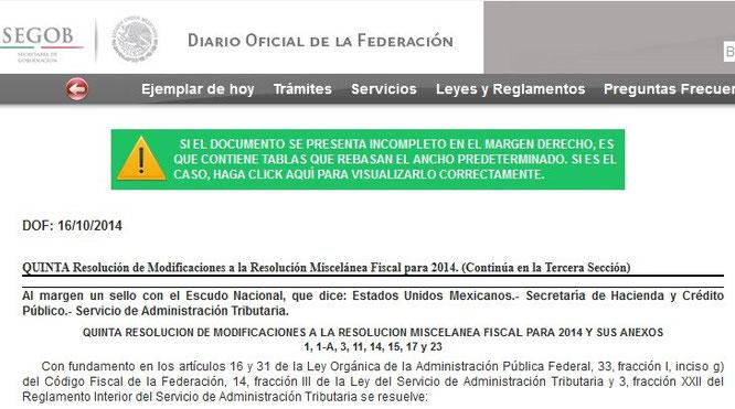 CLIC EN IMAGEN PARA VER EL DIARIO OFICIAL DEL 16 DE OCTUBRE DEL 2014.  DONDE SE PUBLICO ESTA QUINTA RESOLUCION.