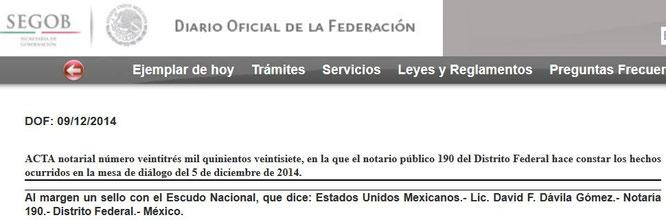 CLIC PARA VER EL ACTA EN DIARIO OFICIAL DEL DÍA 9 DE DICIEMBRE DEL 2014.