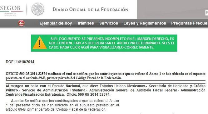 CLIC PARA ENTRAR AL DIARIO OFICIAL DEL DÍA 14 DE OCTUBRE Y VER EL OFICIO COMPLETO.