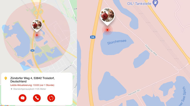Standort-Anzeige durch Smartwatch