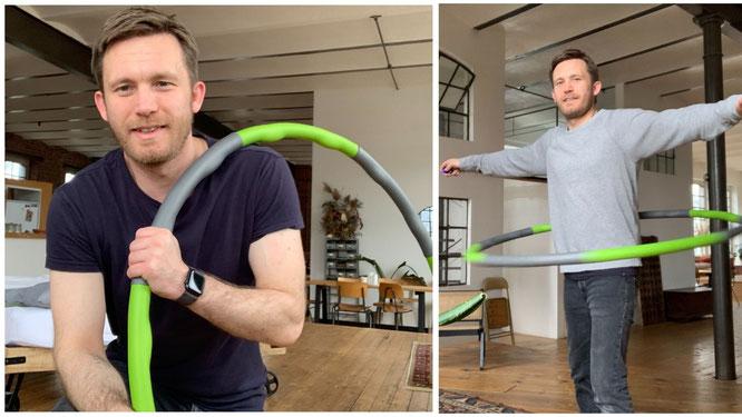 Sebastian Priggemeier mit Hula-Hoop-Reifen