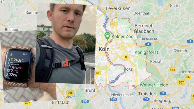 Sebastian Priggemeier läuft in Köln zu Fuß zur Arbeit