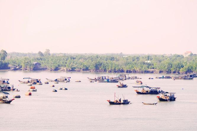 Boote im Mekongdelta in Vietnam