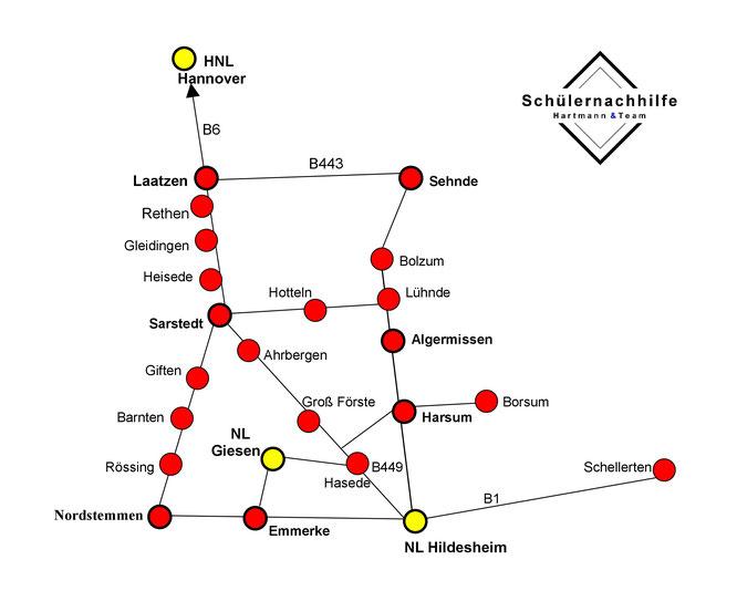 Karte Schülernachhilfe Hartmann & Team im Landkreis Hildesheim & Hannover Süd-Ost