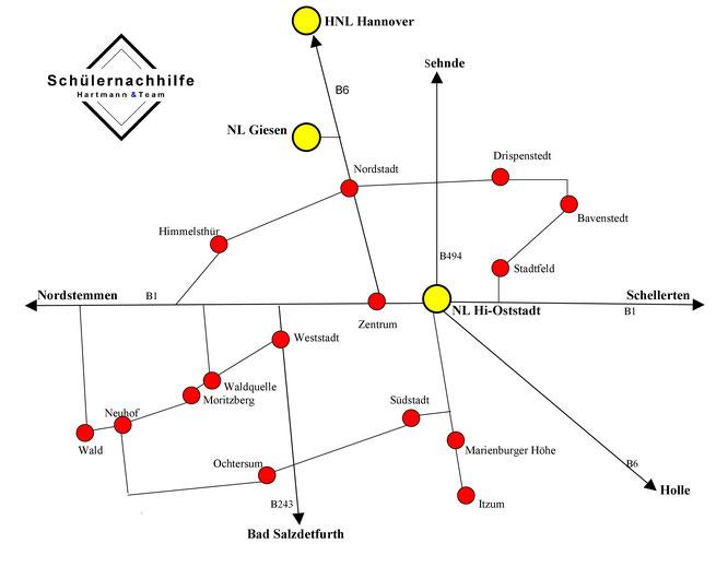 Karte Einzugsgebiet mit Ortsteilen in Hildesheim