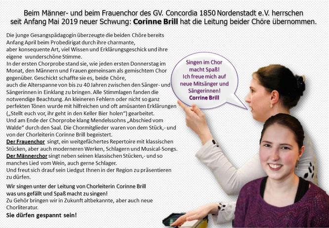 Chorleiterin Corinne Brill des Männer und Frauenchor GV. Concordia 1850 Nordenstadt e.V.