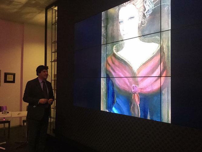 """Il dott. Giorgio Grasso presenta il mio dipinto """"Bellezza senza Tempo"""" all'esposizione Women Again Women"""