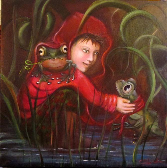 """""""Il ragazzino di Cherasco"""" - Acrilico su tela cm. 50x50 - anno 2016"""