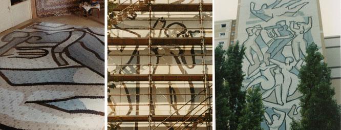 Mur d'immeuble, en collaboration avec Claude Beaujour à Nanterre,  fresque en mosaique, 2x2 cm pate de verre, 400 m2, 30 m de haut,